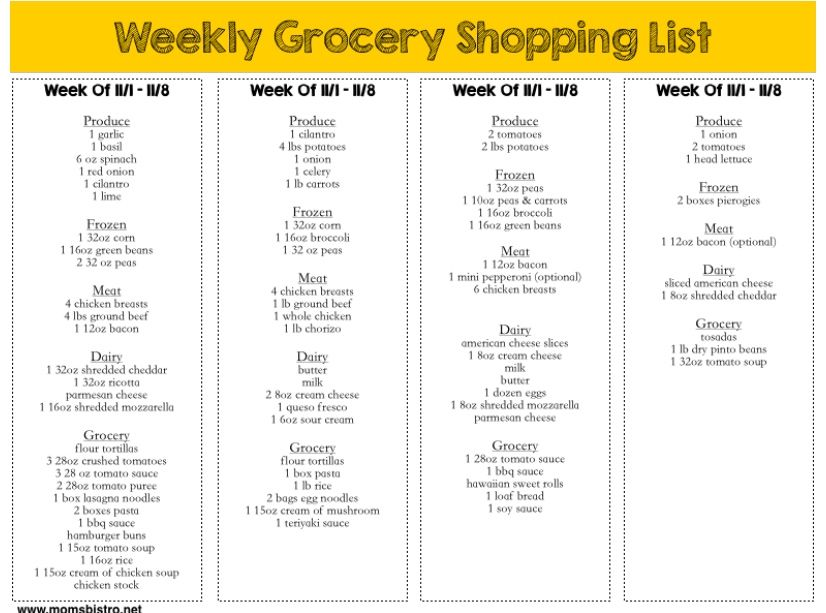 free printable meal plan with grocery list a month of kid friendly