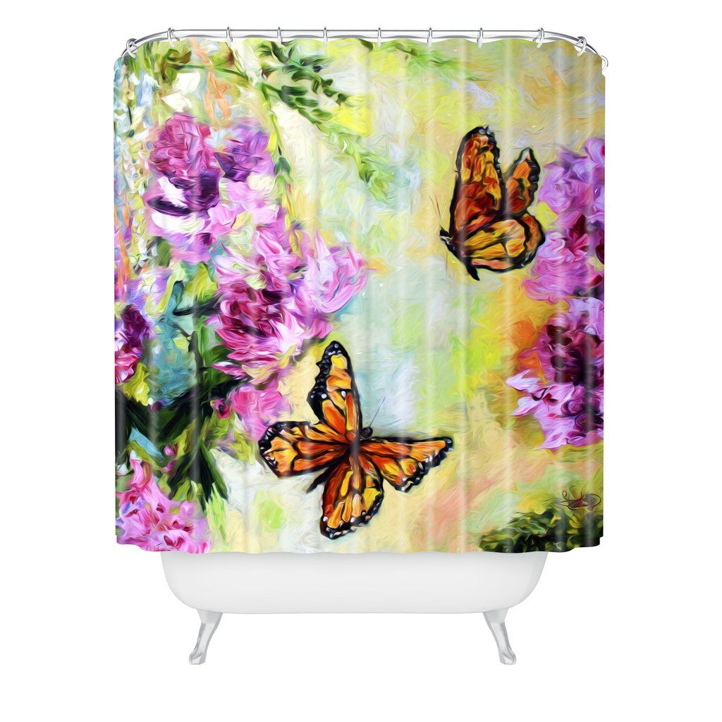 Ginette Fine Art Butterflies And Peonies Shower Curtain Deny Designs Home Accessories Fine Art Butterfly Shower Curtain Curtains