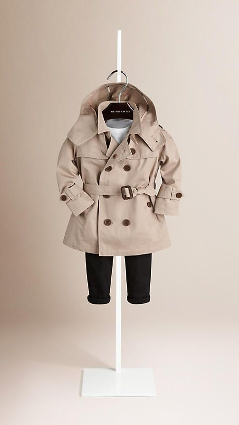 3df0ba854 boys Small Wardrobe, Beige, Taupe, Burberry, Hooded Trench Coat, Classic  Trench