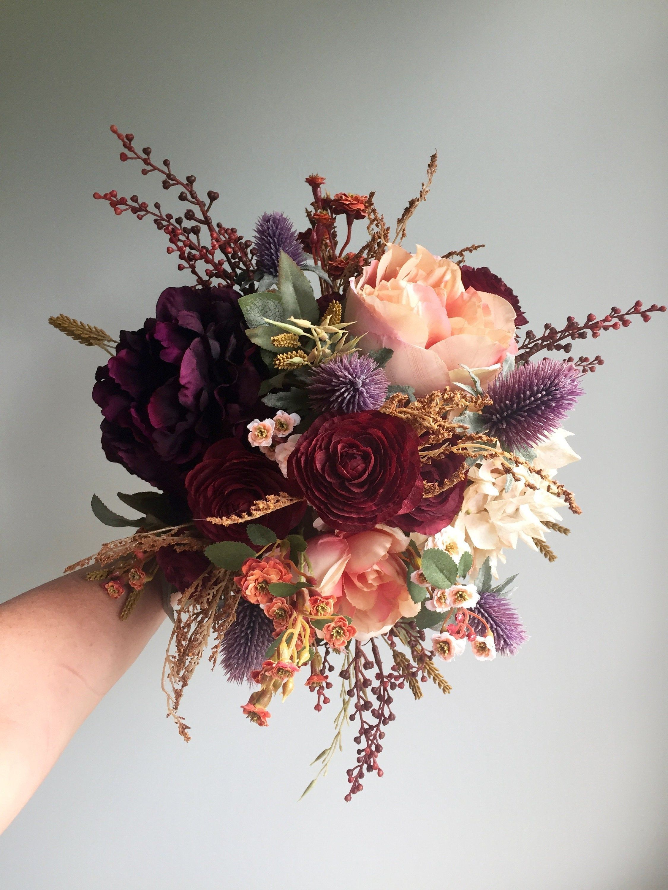 Fall Wedding Bouquet, Silk Wedding Bouquet, Rustic Bridal Bouquet, Burgundy Bouquet, Autumn Flower Bouquet, Artificial Flowers, Hydrangea #fallbridalbouquets