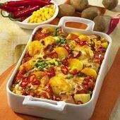 Photo of Fiery potato casserole with meat sausage-Feuriger Kartoffel-…