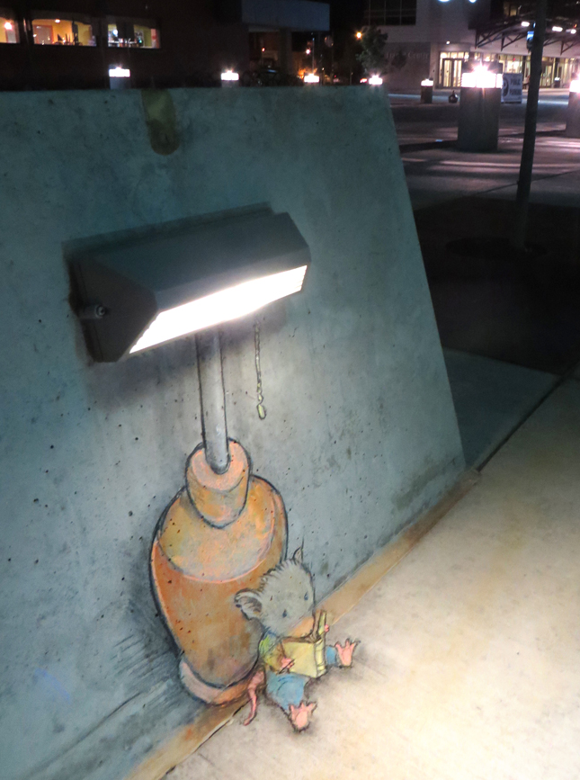 Mouse creates nightlight to read book about street art. - Google Search