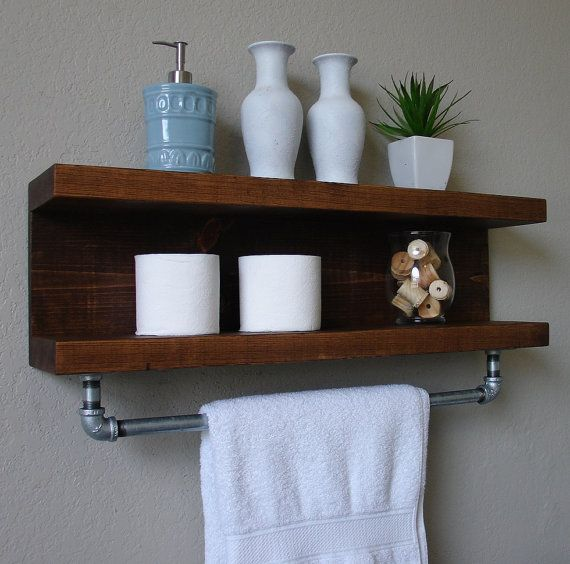 handmade bathroom shelf with towel bar. a perfect addition to any