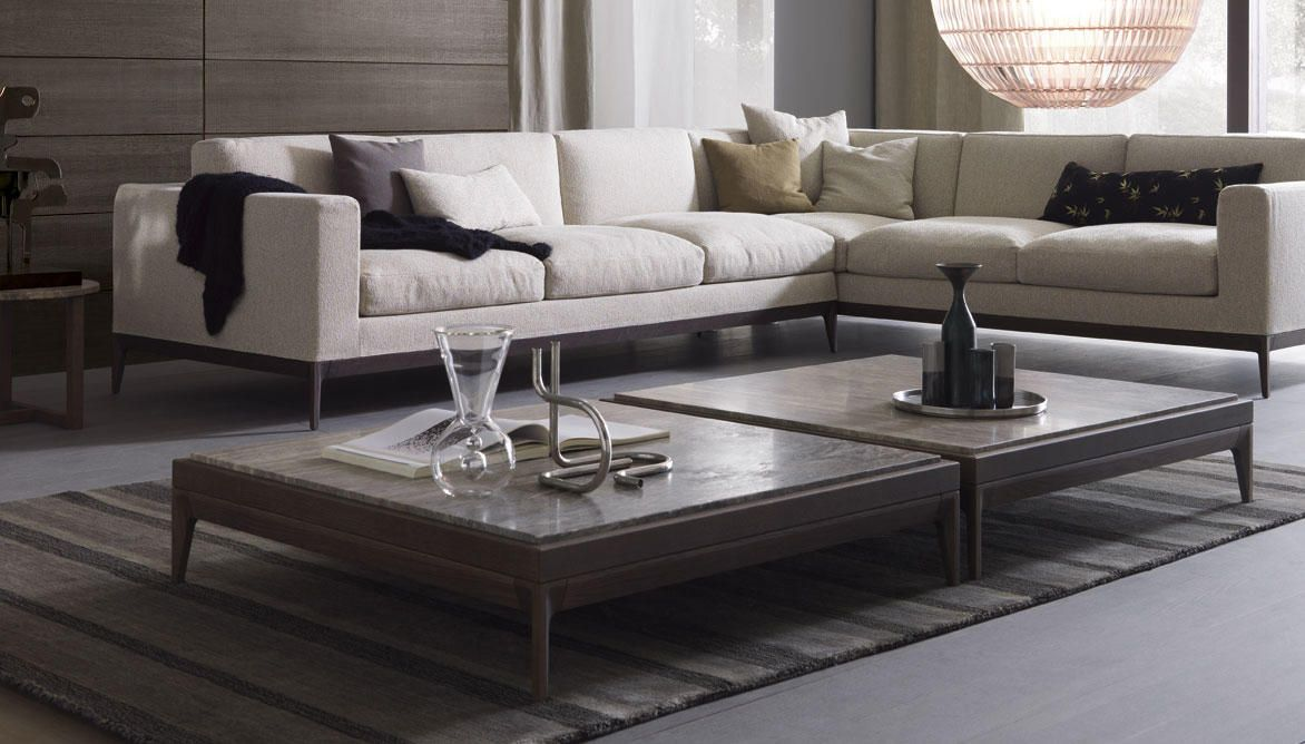Tavolino Antibes The low table ANTIBES derives from the feet that characterise the sofa ANTIBES with materials such as marble and glass. Through the..