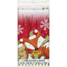 Plastic Woodland Christmas Table Cover