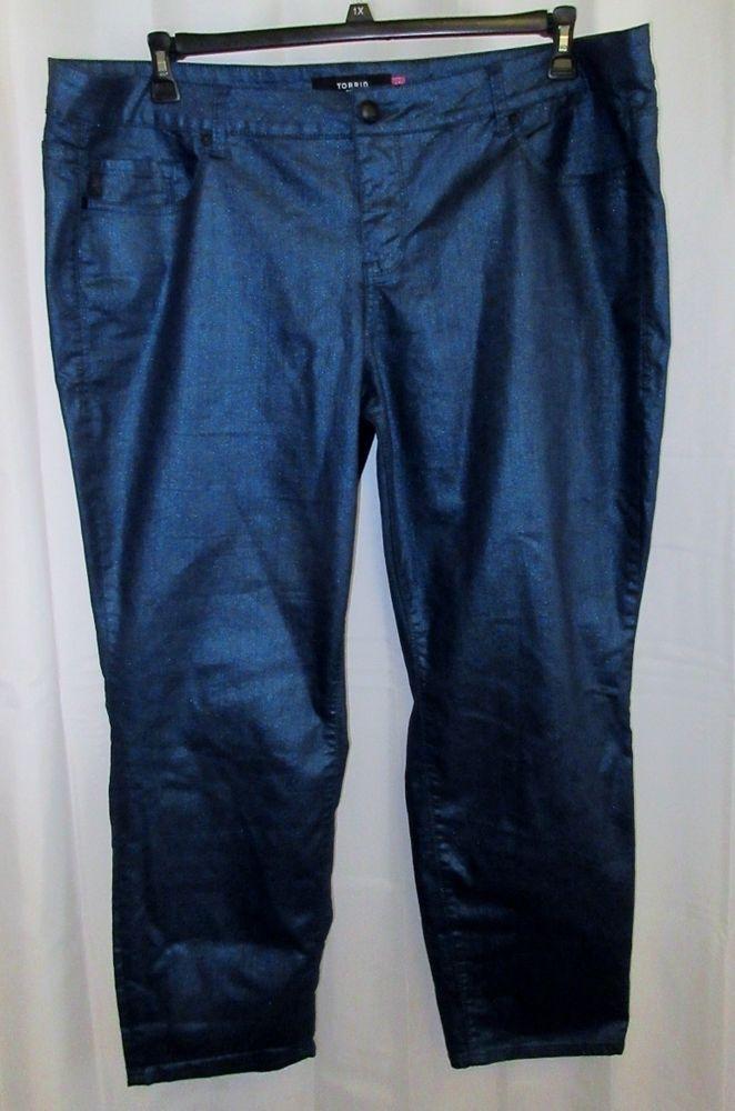 0d96c4d6879 Torrid 26 4 4x Denim Metallic Jeans Skinny Blue 50x31