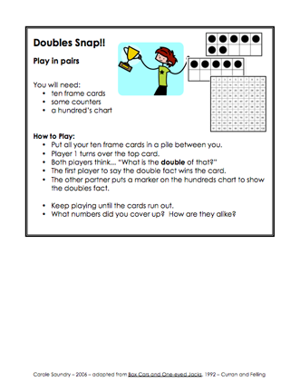 Here\'s a game for using ten frames and a 100 board to practice ...