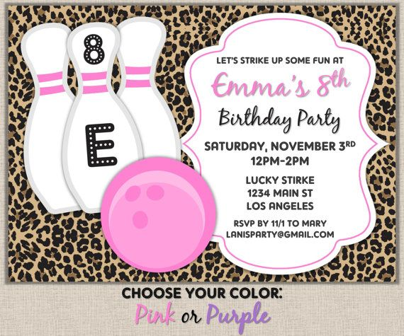 Cheetah Purple Or Pink Bowling Invitation By Lanispartydesigns