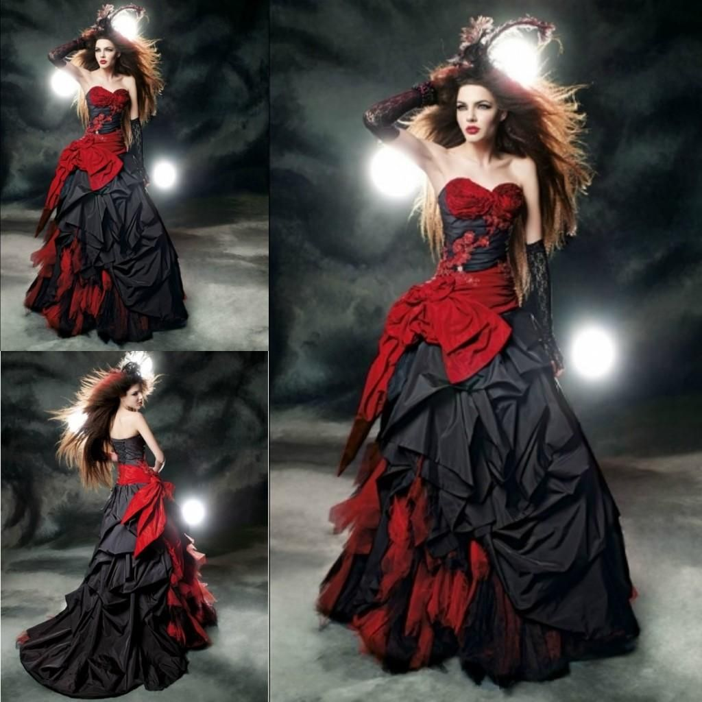 Black And Red Ball Gown Wedding Dresses Sweetheart Taffeta Floor