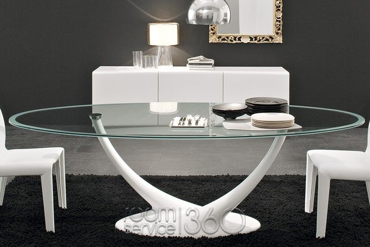 Coral Modern Oval Dining Table With Frosted Edge Glass Top Glamorous Italian Glass Dining Room Tables 2018