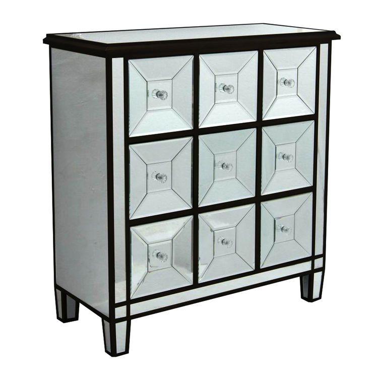 Black 9-Drawer Mirrored Cabinet