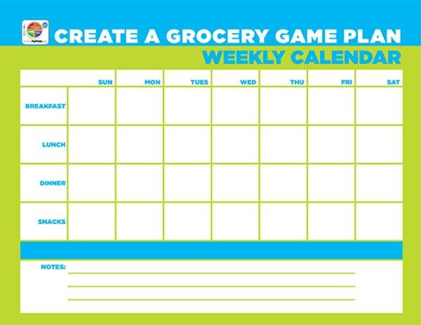 Weekly Calendar Creator : Free worksheet gt create a grocery game plan weekly