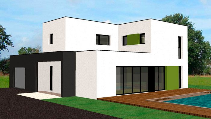 Plan Villa  Ef Bf Bd Toit Plat Et Baies Vitr Ef Bf Bdes