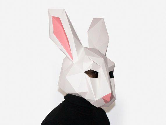 Diy Rabbit Mask Bunny Mask Paper Craft Template Printable Etsy Animal Masks Diy Paper Mask Diy Printable Masks