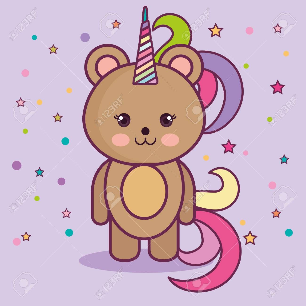 Kawaii bear with colorful horn over purple background. Vector illustration. ,