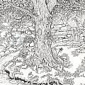 Fairy Tree by Jennifer McPherson - Fairy Tree Drawing - Fairy Tree Fine Art Prints and Posters for Sale