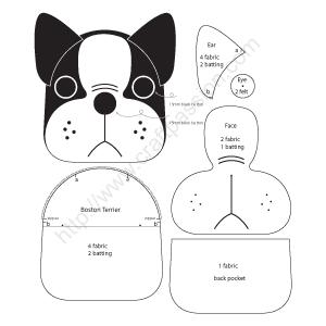 Porte-monnaie Puppy – Boston Terrier | Craft Passion – Patron de couture gratuit   – fabric- bags, baskets,purses
