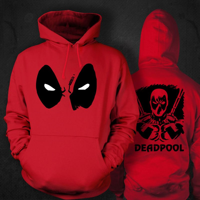Marvel/'s Deadpool Red /& black adults geek hoodie hooded hero sweatshirt