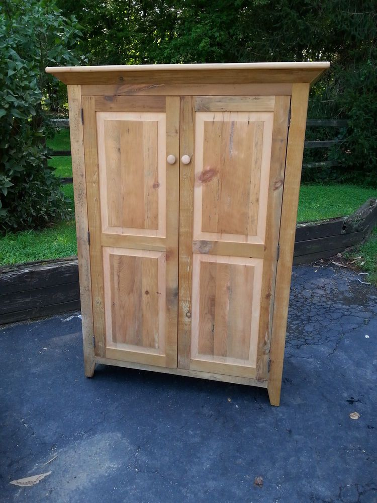ANTIQUE AMISH BUILT UNFINISHED RECLAIMED BARN WOOD SMALL ARMOIRE,TV CABINET  #Handmade #Country