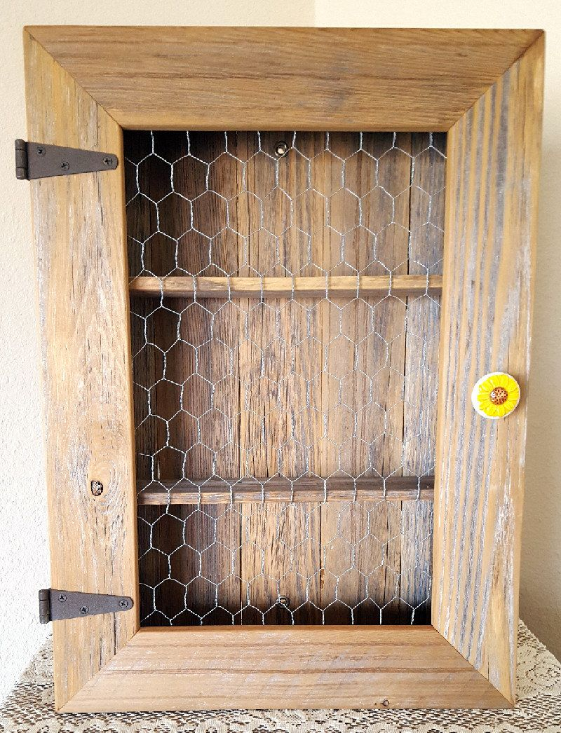 Country Cabinet. Rustic Spice Cabinet with Chicken Wire. Country ...
