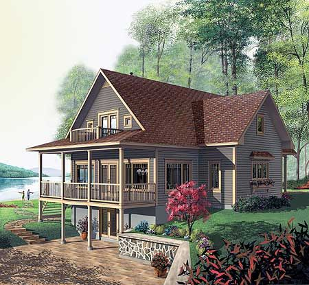 072h 0206 Two Story Waterfront House Plan Designed For A View Cottage Plan Vacation House Plans Narrow Lot House Plans