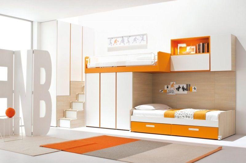 Orange And White Kids Loft Bed With Wardrobe And Ladder Modern Loft Bed Modern Bunk Beds Bunk Beds