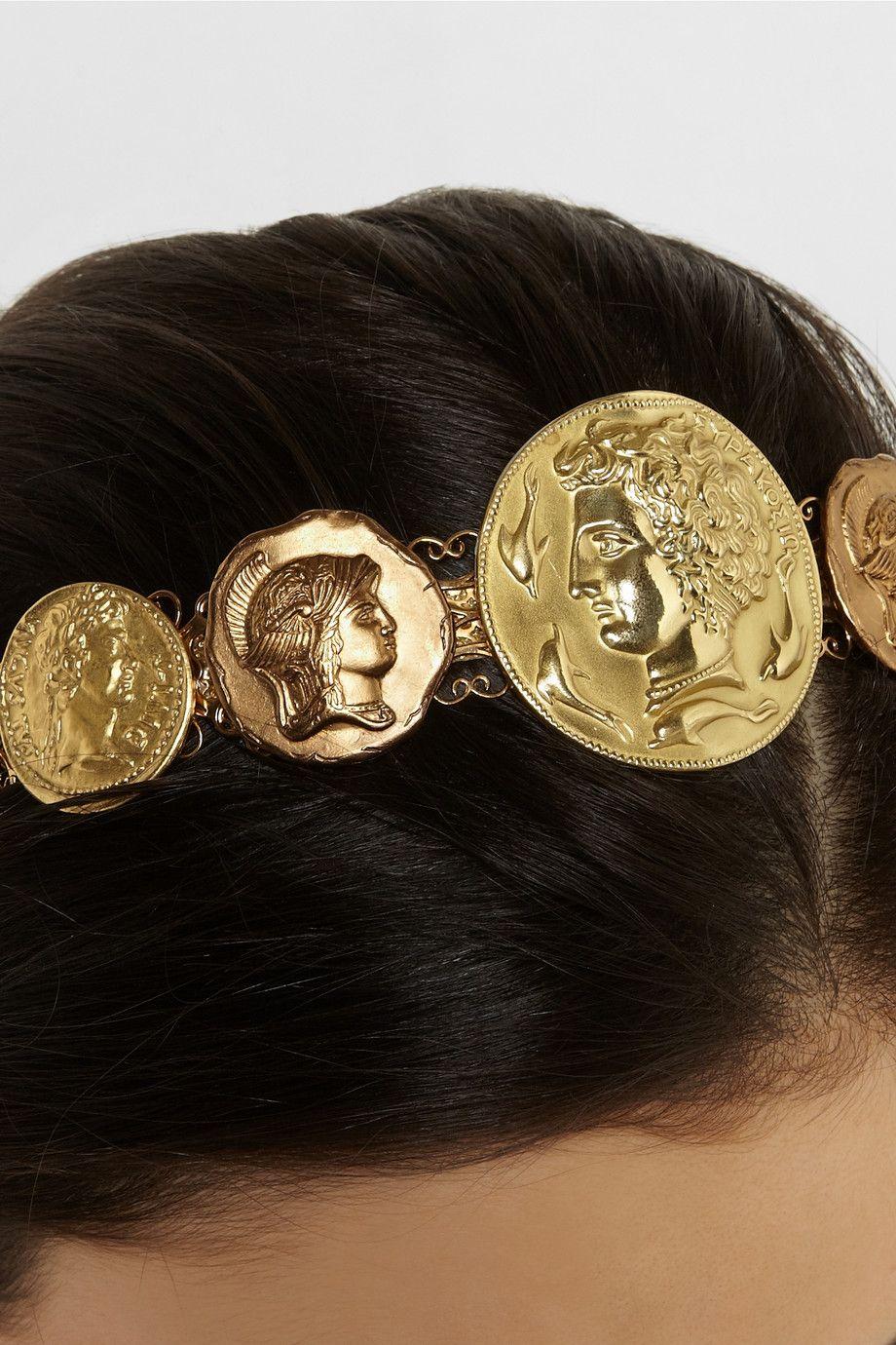 ancient coins in metallic gold-tone #headbanddolce & gabbana