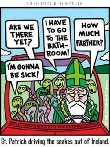 Image result for cartoon st patrick driving the snakes out of ireland