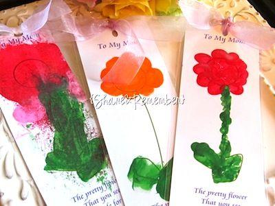 mothers day craft fingerprint flower bookmarks