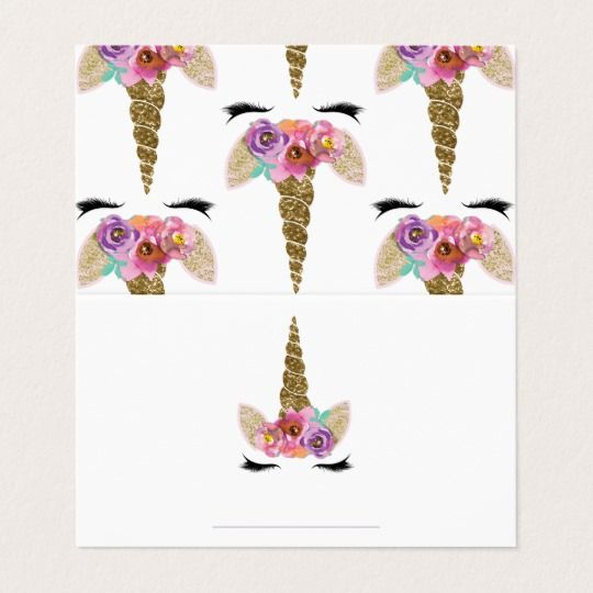 Floral unicorn gold birthday party food tents place card printable floral unicorn gold birthday party food tents place card bookmarktalkfo Image collections