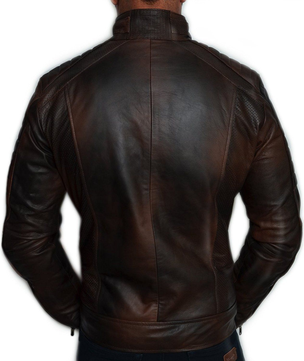 dd5313e766bb Mens Biker Vintage Motorcycle Distressed Brown Cafe Racer Leather Jacket  TOP SELLER: Amazon.co.uk: Clothing