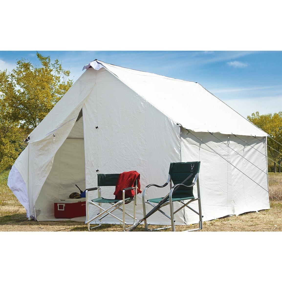 Guide Gear 10x12 Canvas Wall Tent Frame Not Included Wall Tent Canvas Tent Canvas Wall Tent