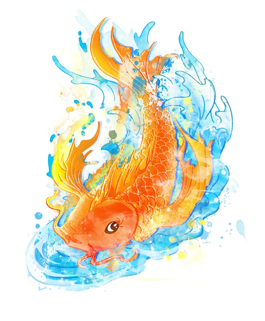 Koi fish tattoo drawings koi fish water color tattoo by for Koi fish colors