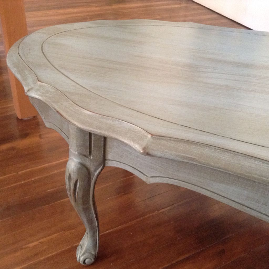 French Provincial Coffee Table Painted Blue- Grey Chalk