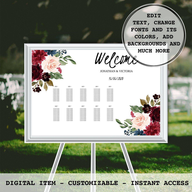 Wedding Seating Chart Printable Burgundy Floral PDF
