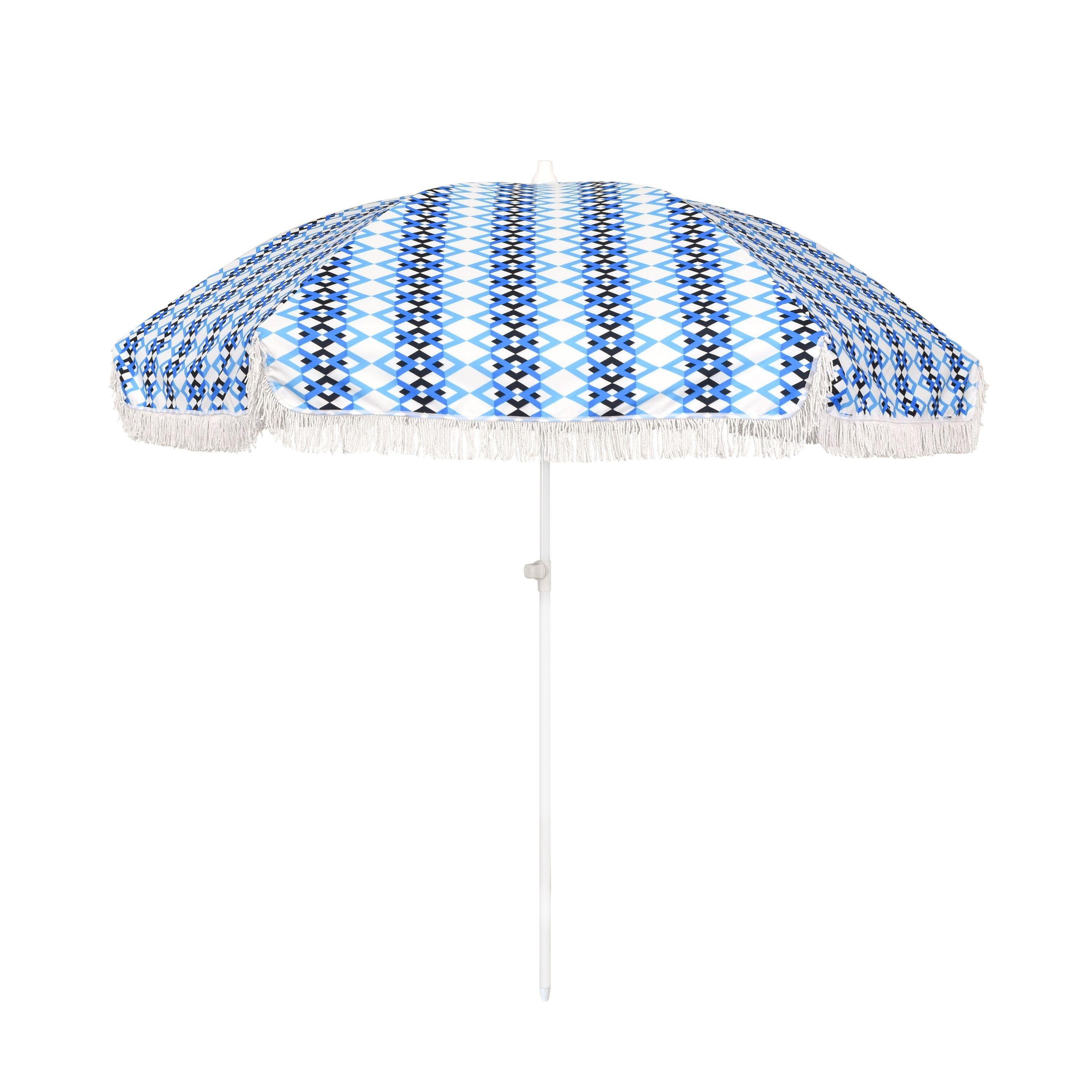 6 5 foot Round Push Open Fiberglass Rib Fringed Beach Umbrella Set