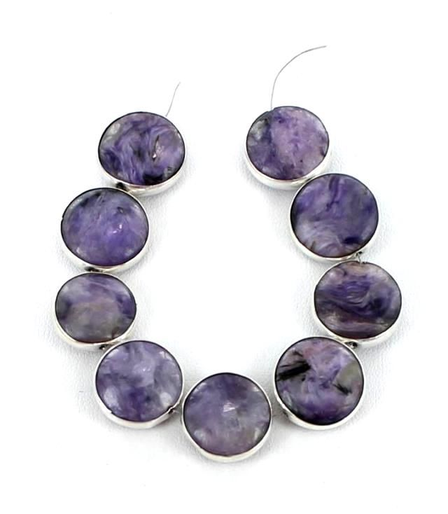 STERLING SILVER RIMMED CHAROITE BEADS 9 PIECES: Asianbeads.com