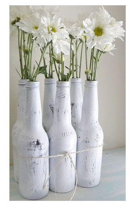 Ideas Para Decorar Botellas Botellas Pintadas Decoracion Botellas De Vino Florero Con Botellas