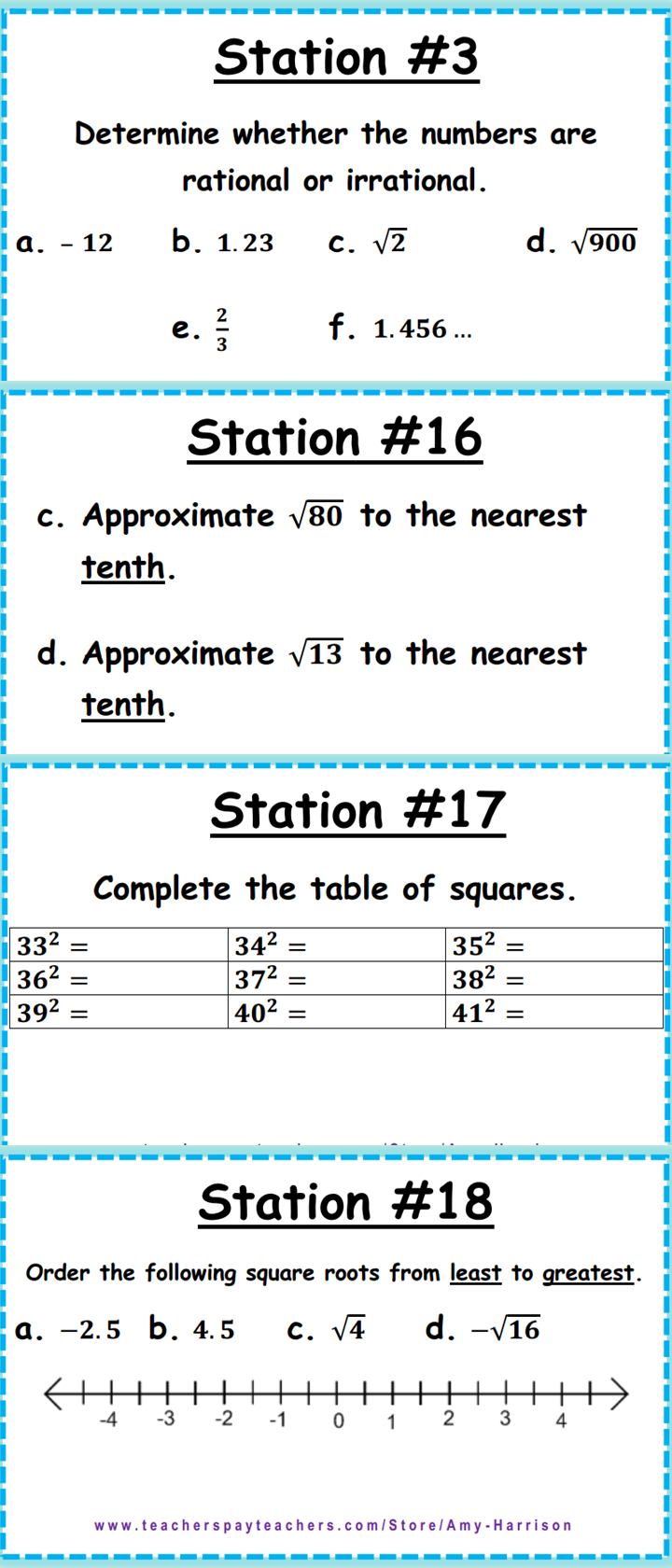 Irrational and Rational Numbers Task Cards 8.NS.A.1 & 8
