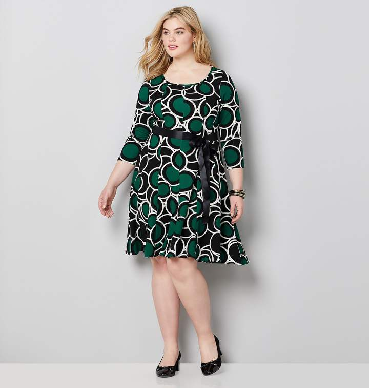 Avenue Plus Size Overlapping Dot Print Fit And Flare Dress ...