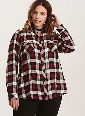 be4abb4f3 Plaid Challis Camp Shirt | Developing my swag | Plaid, Plus size ...