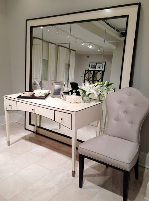 Bernhardt Lacquered Vanity / Desk + Oversized Mirror #hpmkt