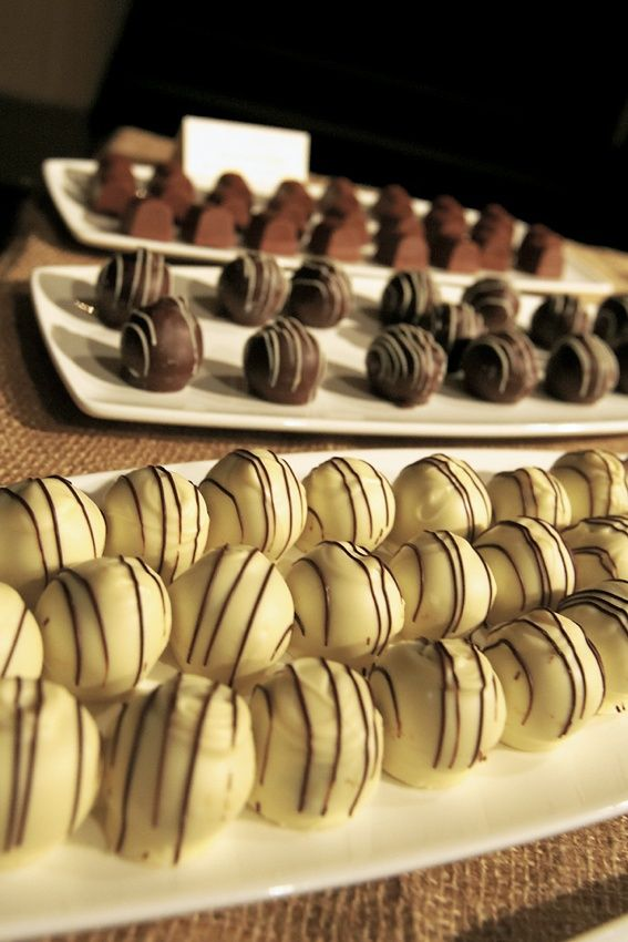 Chocolate Truffles Photography: KingenSmith Read More: http://www.insideweddings.com/weddings/sophisticated-wedding-in-chicago-with-branch-succulent-decor/162/
