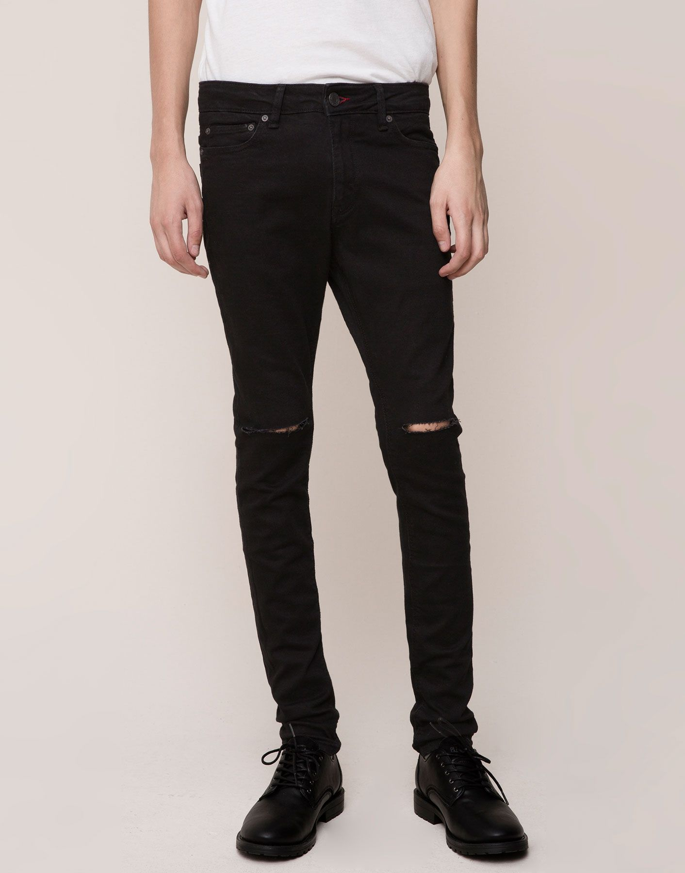 Schwarze Jeans Super Skinny Fit Mit Rissen Am Knie Fashion