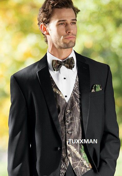 595b225f45ff NEW Mossy Oak Camo Tuxedo Vest Bow Tie Camouflage All Sizes Free Hankie  Shipping #Camoflauge
