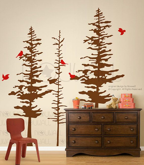 art wall decals wall stickers pine trees decal pine cone tree wall decal