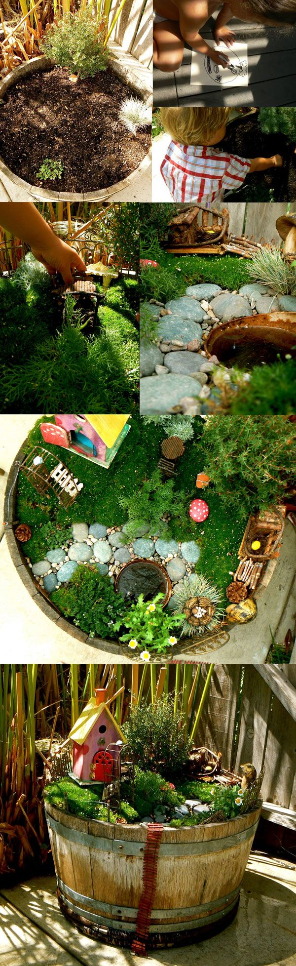 a few ideas of fairy gardens they can be planted in pots barrels