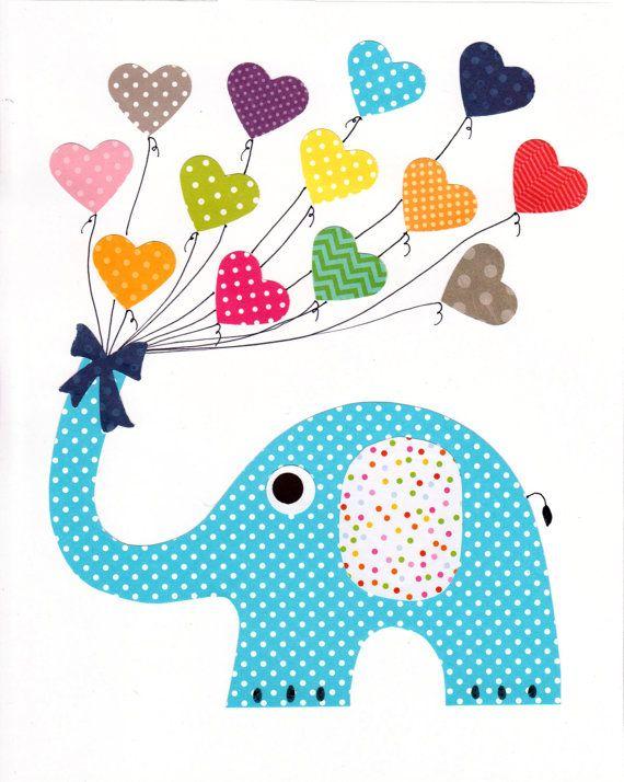 Baby Boy Bedroom Gifts: Blue Elephant Baby Nursery Artwork Baby Kids Room