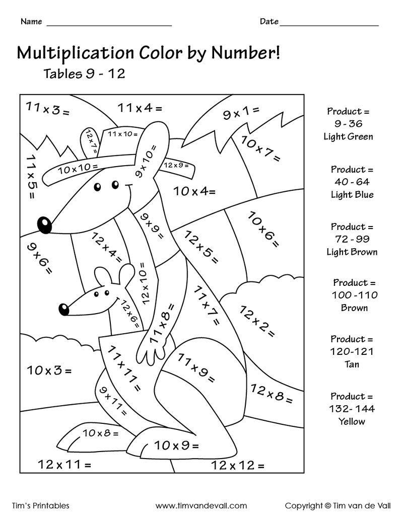 Kangaroo Color By Number Multiplication Buku Mewarnai Buku Matematika [ 1035 x 800 Pixel ]