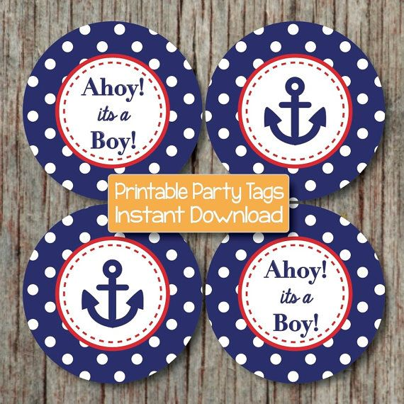 Navy Blue Red Nautical Baby Shower Decorations by BumpAndBeyondDesigns on Etsy, $4.00